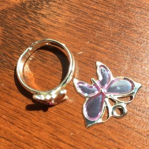 BUTTERFLY RING AND NECKLACE CHARM!